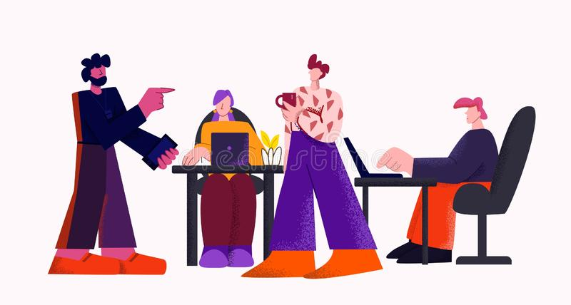 Lider zespołu na spotkaniu marketingu cyfrowego w nowoczesnym biurze, odizolowanym na białym tle royalty ilustracja
