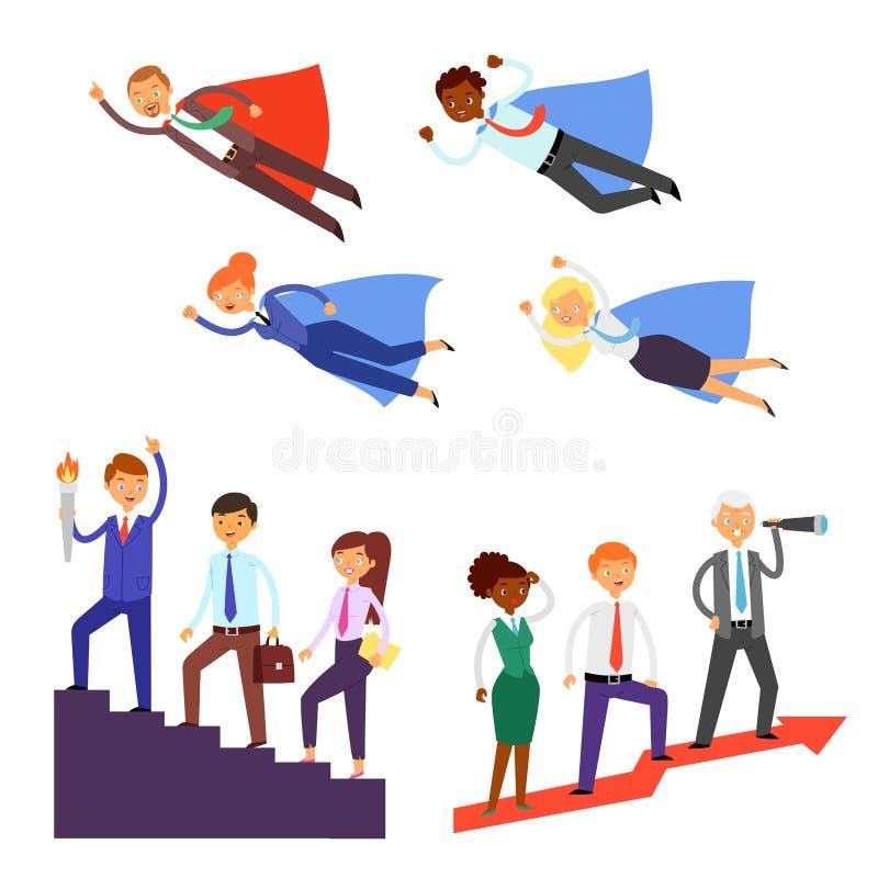 Lider zespołu wektorowego biznesmena lub bizneswomanu charakteru super bohatera pracy zespołowej wiodący korporacyjny ilustracyjn ilustracja wektor