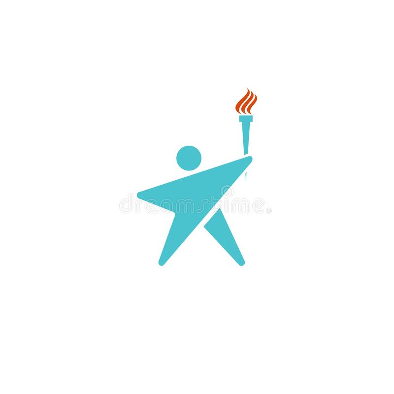 Lidera logo pochodni ludzki ogień, mężczyzny mockup sylwetka kształtujący gwiazdowy logotyp, sporta mistrza ikona royalty ilustracja
