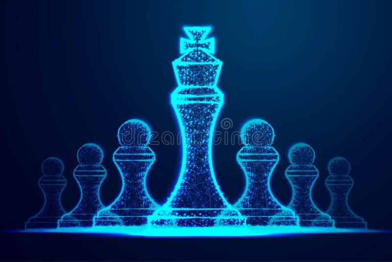 lidera sukcesu poj?cie królowej szachowa postać jako symbol przywódctwo Pomyślny wyzwanie Abstrakcjonistyczny wireframe projekt o ilustracja wektor