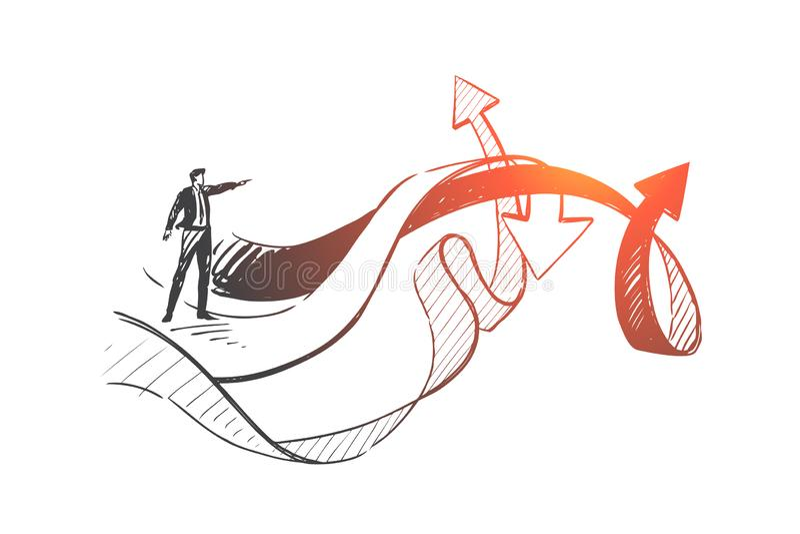 Liderança, análise, esboço do conceito de escolha de negócios Vetor isolado desenhado à mão ilustração do vetor