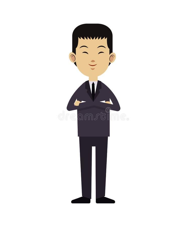 Liderança asiática do negócio do homem com laço do terno ilustração stock