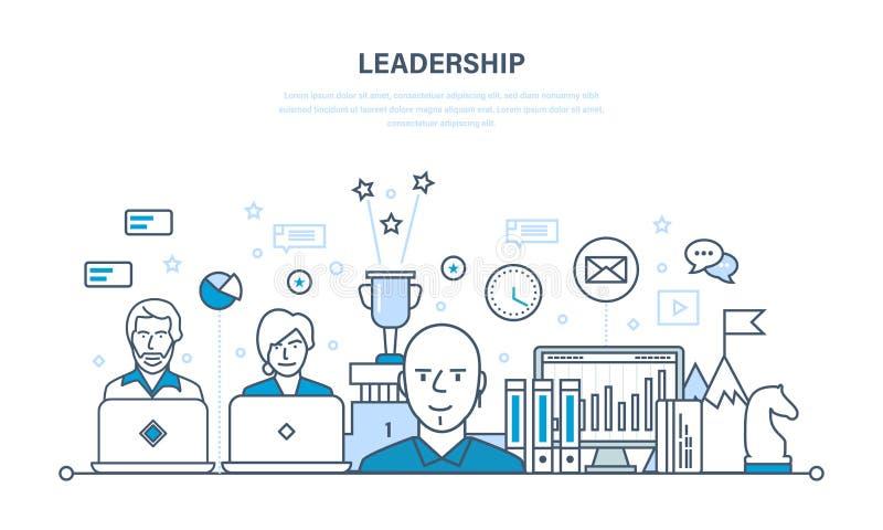 Liderança e desenvolvimento, gestão, crescimento da carreira, sucesso no trabalho ilustração royalty free