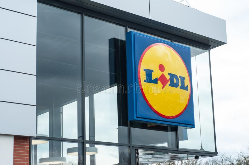 Lidl sign in store front - Lidl is the german leader of hard discount supermarket chain in France royalty free stock photo