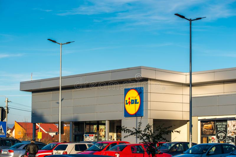 Lidl store entrance, one of the biggest grocery stores in Eastern europe. Miercurea Ciuc, Romania- 09 November 2019: Lidl store entrance, one of the biggest stock image