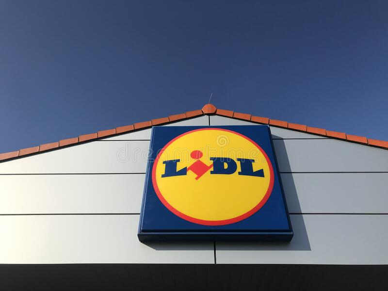 Lidl store sign with blue sky royalty free stock photos