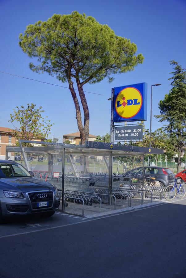 Lidl Store Sign in Rimini Italy stock photos