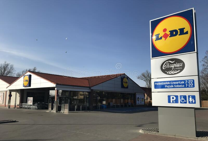 Lidl supermarket in Darlowo Poland stock images