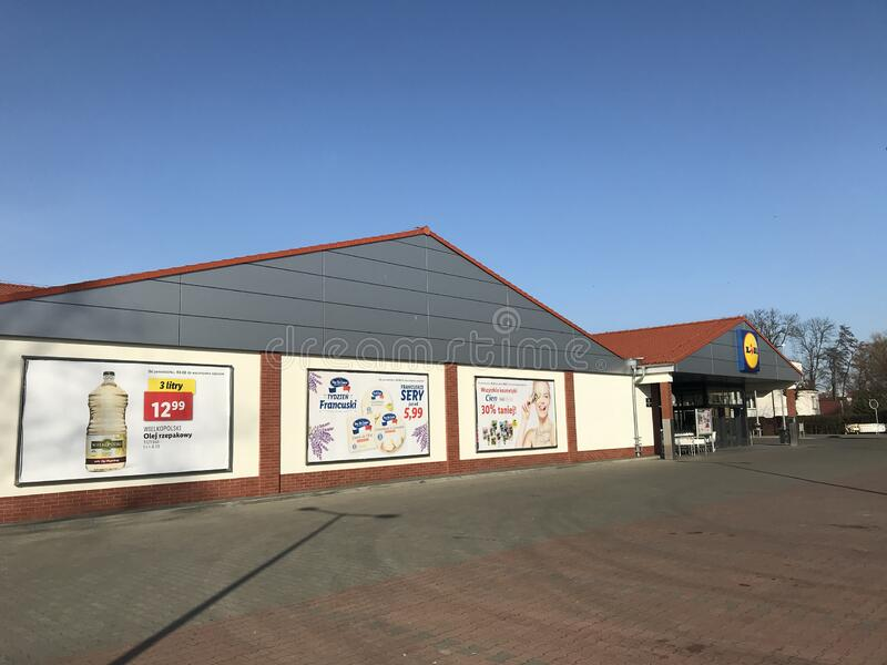 Lidl supermarket in Darlowo Poland stock photography