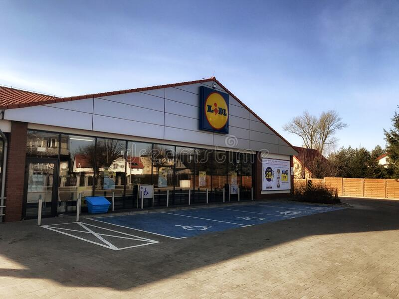 Lidl supermarket in Darlowo Poland stock photo