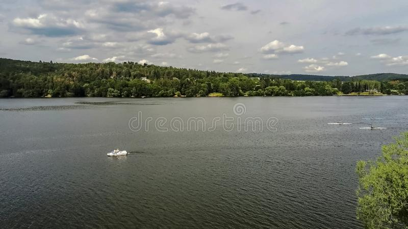 Lido At Anchor U Kotvy on the reservoir in Brno Bystrc from above. Lido and public Beach At Anchor U Kotvy on the reservoir in Brno Bystrc in summer from above royalty free stock photo