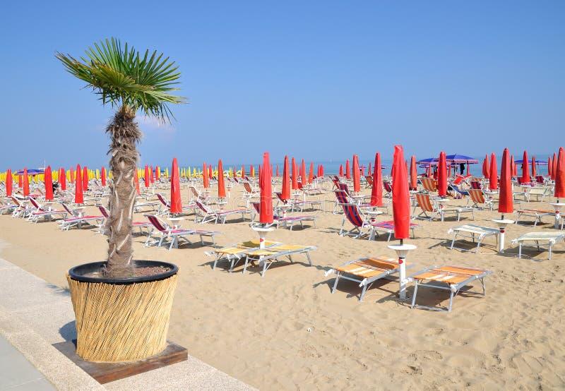 Lido di Jesolo,adriatic Sea,Italy. Beach of Lido di Jesolo at adriatic Sea in Veneto,venetian Riviera,mediterranean Sea,Italy stock photos