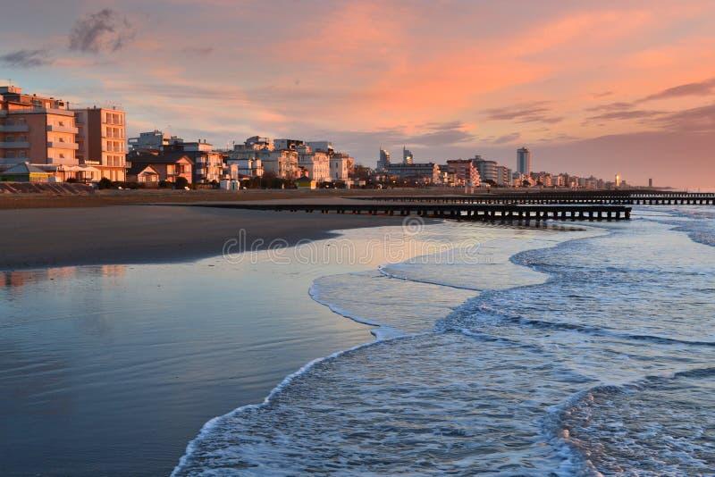 Lido di Jesolo Beach. Daybreak at the beach of Lido di Jesolo -popular resort near Venice,Italy stock image