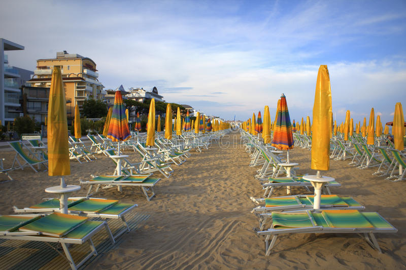 Lido Di Jesolo beach. Morning view of Lido Di Jesolo empty beach,Adriatic coast,Italy stock photos