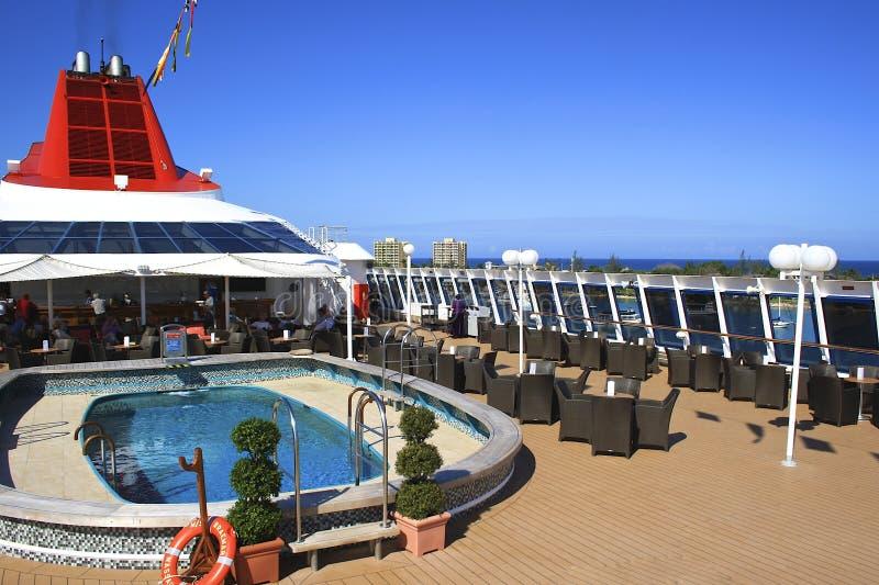 Lidodek van een cruiseschip royalty-vrije stock foto