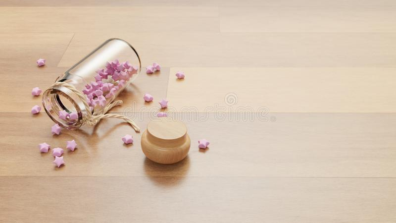 Lie down bottle of pink paper crafting stars caps opened. With space on right stock illustration