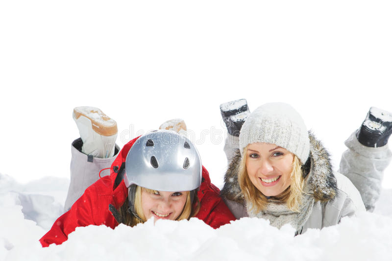 Download Lie on snow stock photo. Image of friends, down, copyspace - 21893318