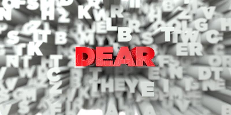 LIEB - Roter Text auf Typografiehintergrund - 3D übertrug freies Archivbild der Abgabe stock abbildung