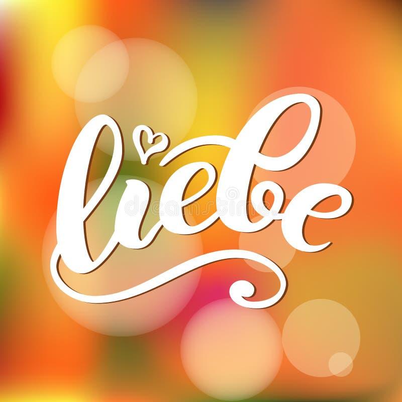 Liebe - AMOUR en allemand Carte heureuse de jour de valentines, lettrage manuscrit Illustration de vecteur illustration libre de droits