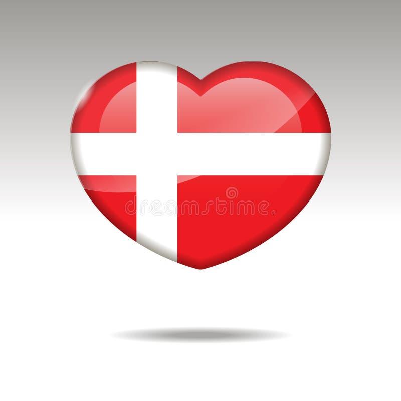 Liebe DÄNEMARK-Symbol Herzflaggenikone Auch im corel abgehobenen Betrag stock abbildung