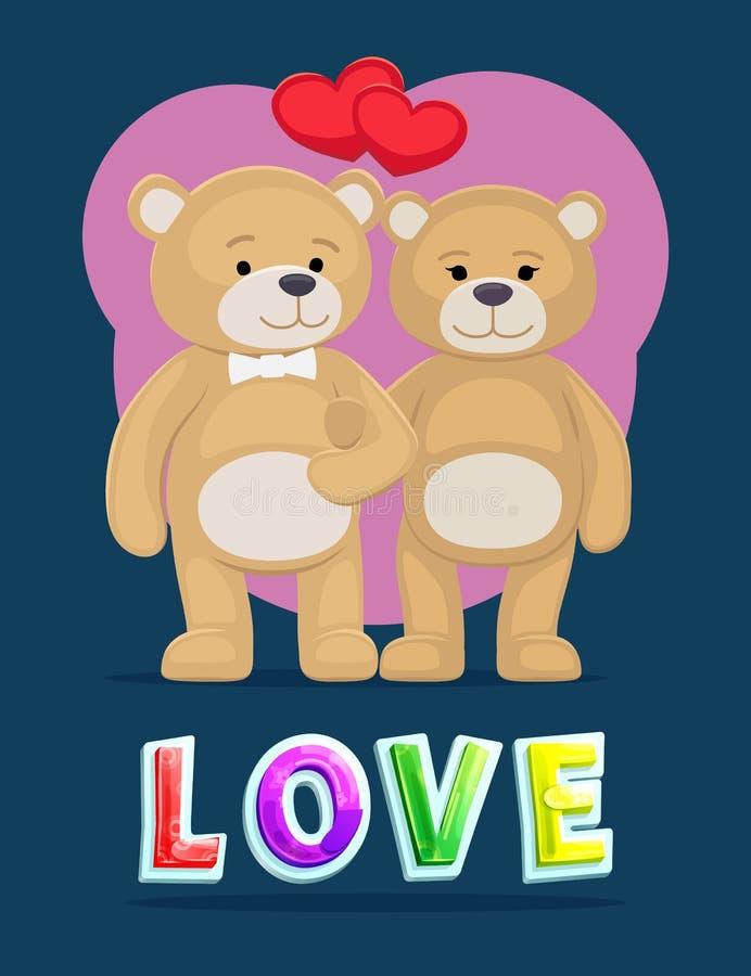 Liebe der flaumigen Bärn-Plakat-Vektor-Illustration stock abbildung