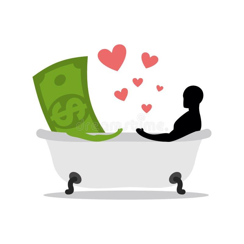 Liebe des Geldes Dollar und Mann im Bad Mann und Bargeld, die in b sich waschen vektor abbildung