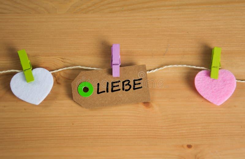Liebe - det tyska ordet för förälskelse fotografering för bildbyråer