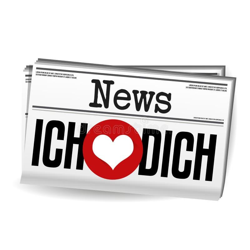 Liebe Dich Zeitung Ich - я тебя люблю газета Вектор Eps10 иллюстрация штока