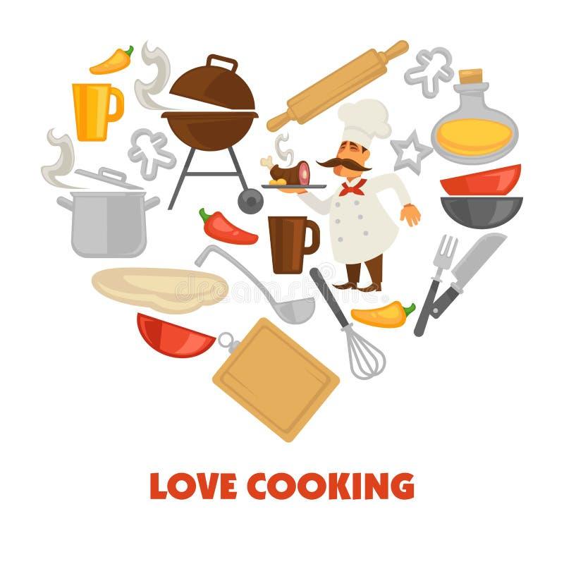 Liebe, die Promoplakat mit kulinarischem Ausrüstungs- und Manneskoch kocht stock abbildung