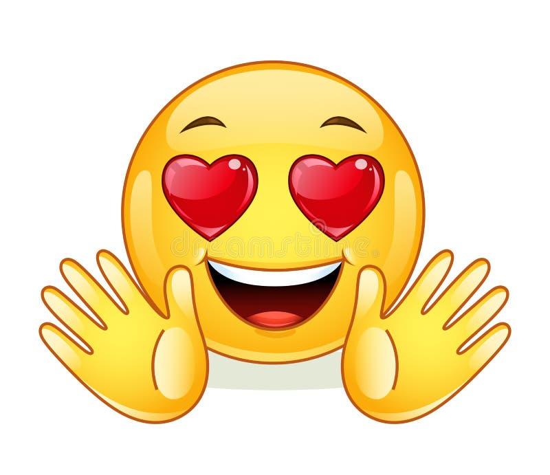 In Liebe Emoticon mit den offenen Händen lizenzfreie abbildung