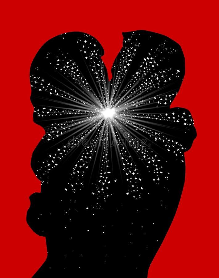 Liebe am ersten Kuss mit Fireworkk und rotem Hintergrund stock abbildung