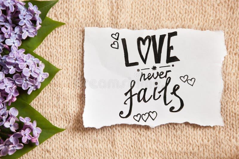 Liebe fällt nie - rosa Blumen und Kalligraphietext auf Papier, Bibelzitat aus stockfotos