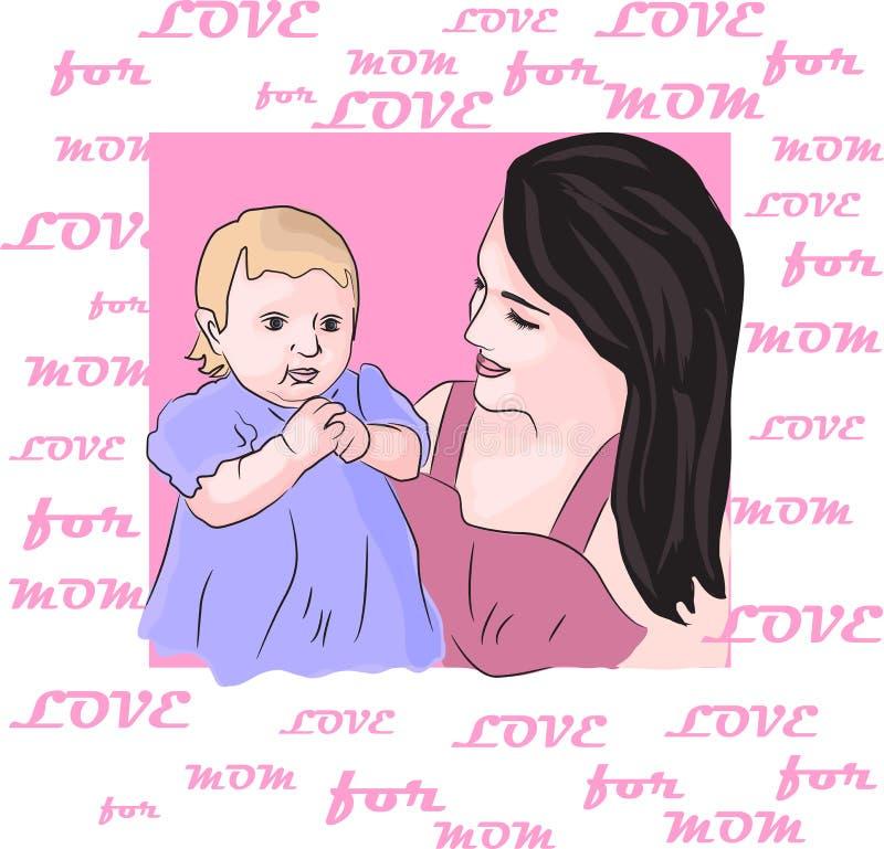 Liebe für Mutternamenillustrationen stellen Mutter und Tochter dar stock abbildung