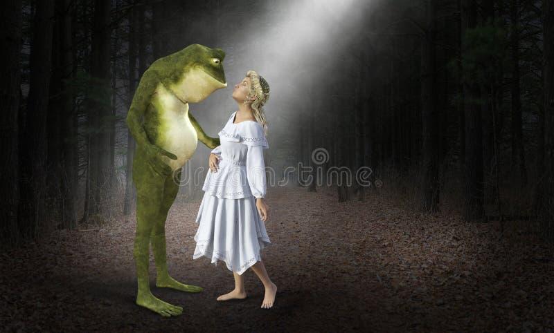 Liebe, Frau, die hässlichen Frosch küsst stockfoto