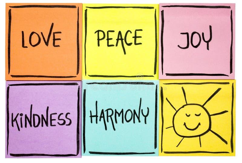 Liebe, Frieden, Güte, Freude und Harmonie stockbild