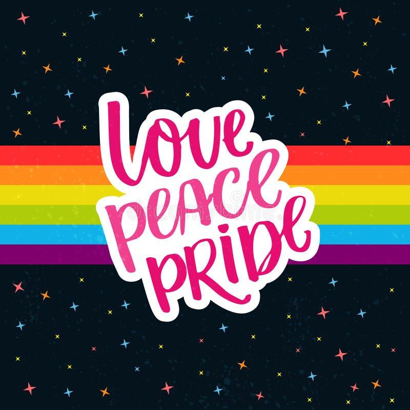 Liebe, Frieden, Stolz Wörter auf Regenbogenparadeflagge am bewölkten Himmel mit Sternen Homosexueller Stolz, der für Aufkleber, T stock abbildung