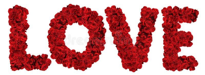 LIEBE gebildet von den Rosen stockfotografie