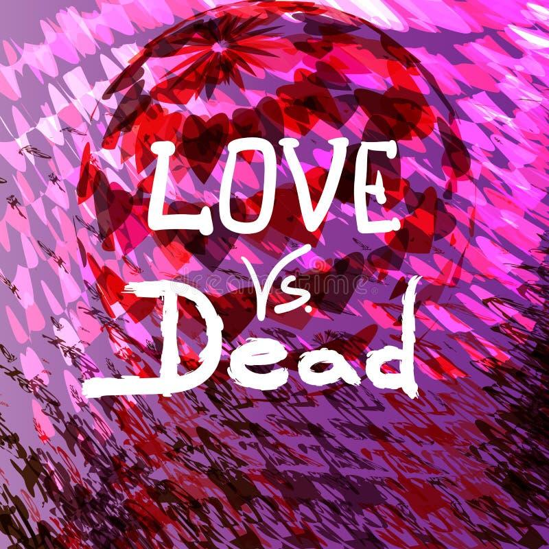 Liebe gegen tote Valentinsgrußtagesdesignvektorillustration vektor abbildung