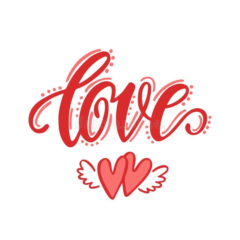 Liebe Hand gezeichnete Briefgestaltung vektor abbildung