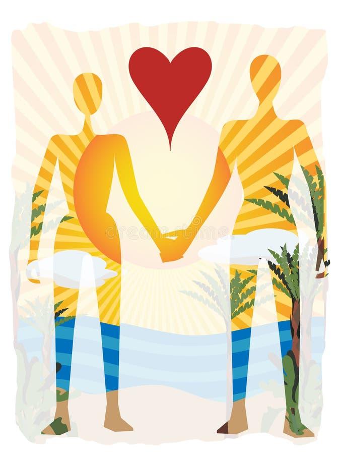 Liebe im Paradiesauszugspaar-Schattenbildstrand stock abbildung