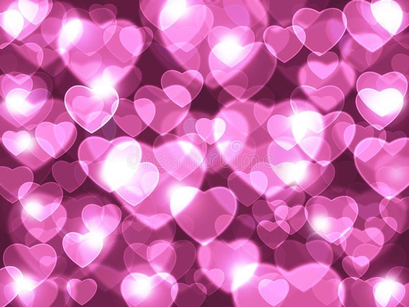 Liebe ist in der Luft Schöner hellrosa Herzlinsenhintergrund lizenzfreie abbildung
