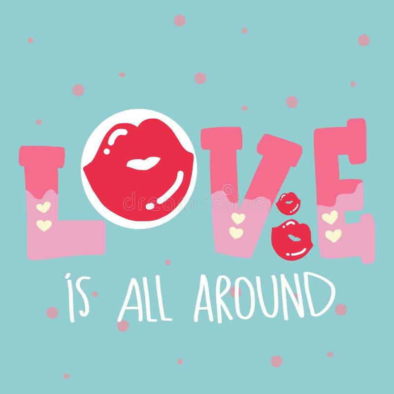Liebe ist ganz um Wort und küsst Vektorillustrations-Pastellton lizenzfreie abbildung
