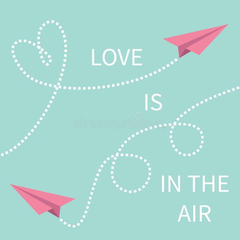 Liebe ist im Luft Beschriftungstext Papierflugzeug mit zwei rosa Fliegenorigamis stock abbildung