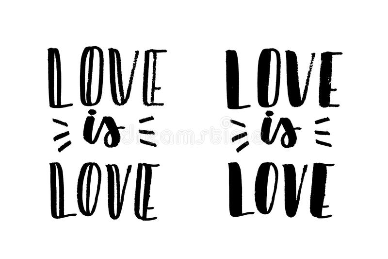 Liebe ist Liebesbeschriftung vektor abbildung