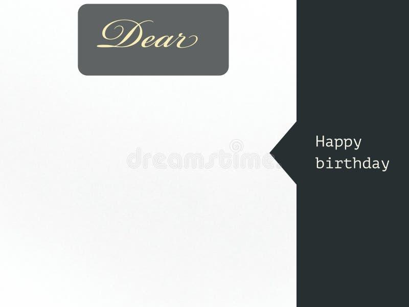 Liebe Karte alles Gute zum Geburtstag für den Wunsch in der grauen weißen Farbe lizenzfreie abbildung