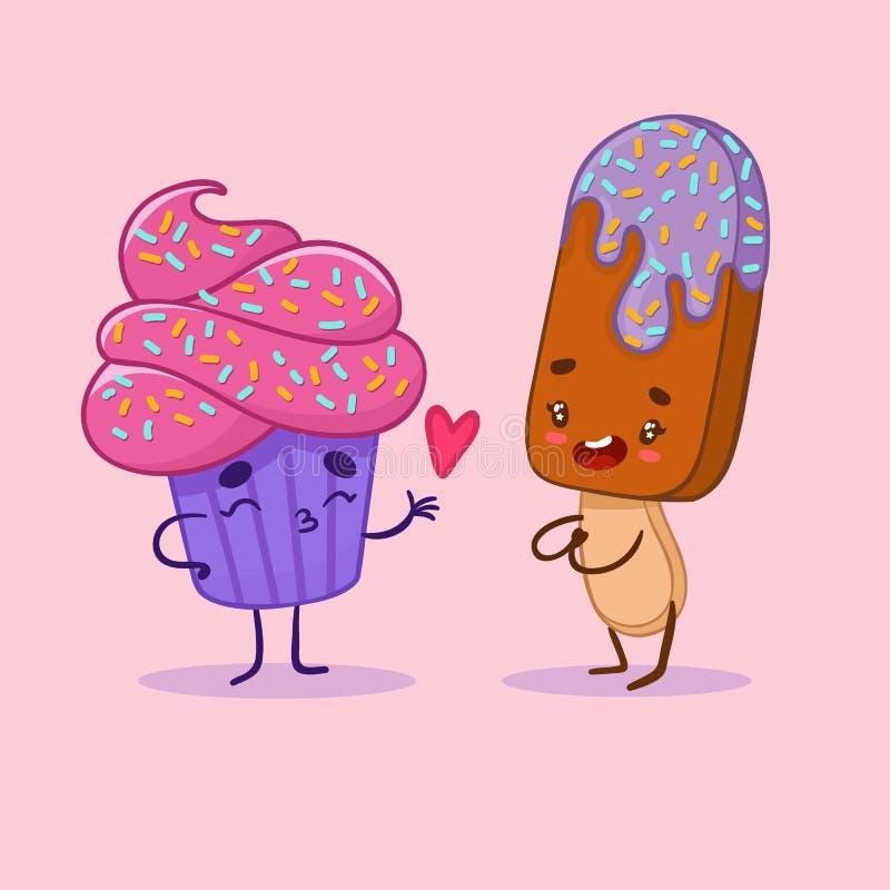 Liebe kleinen Kuchens und isecream Kawaii lizenzfreies stockbild