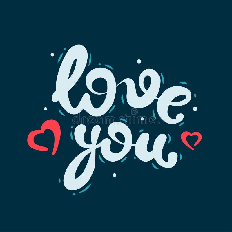 Liebe mit der Aufschrift kalligraphie Vector Illustration auf einem blauen Hintergrund mit handgeschriebenen Aufschriften Design  stockfoto