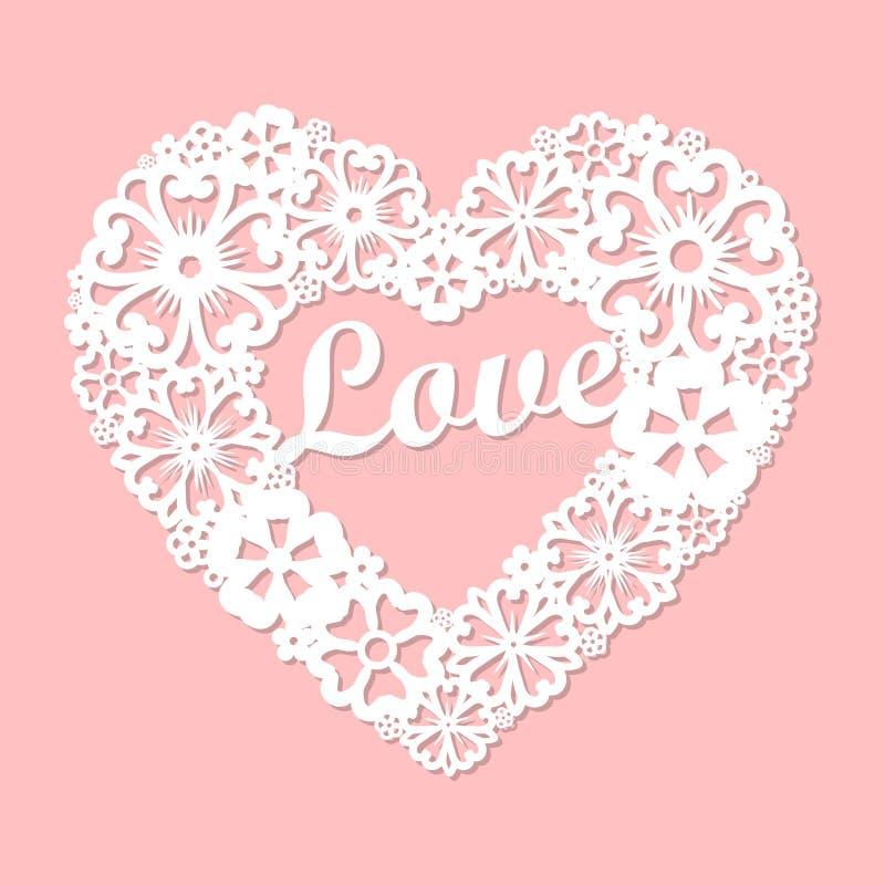Liebe Openwork Herz gemacht von den Blumen Programmierbarer Laser-Schneider vektor abbildung