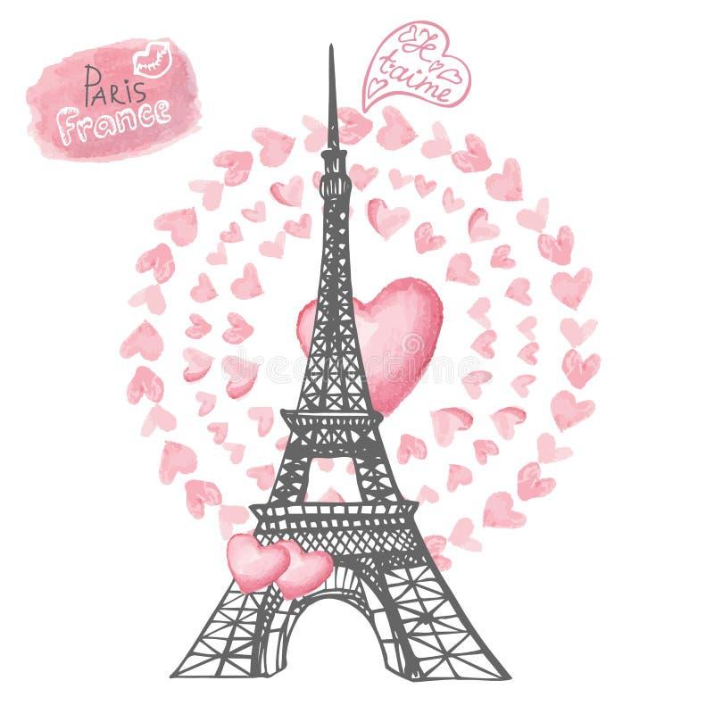 Liebe in Paris Eiffelturm, Aquarellherzen lizenzfreie abbildung