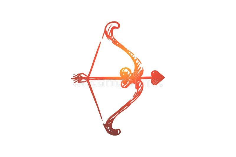 Liebe, Pfeil, Amorousness, Liebe, romantisches Konzept Hand gezeichneter lokalisierter Vektor stock abbildung